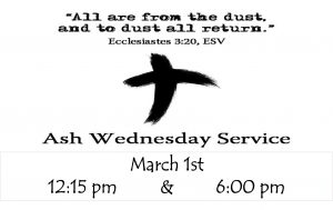 Ash Wednesday 12:15 pm Service @ ST JOHNS UMC | Texas City | Texas | United States